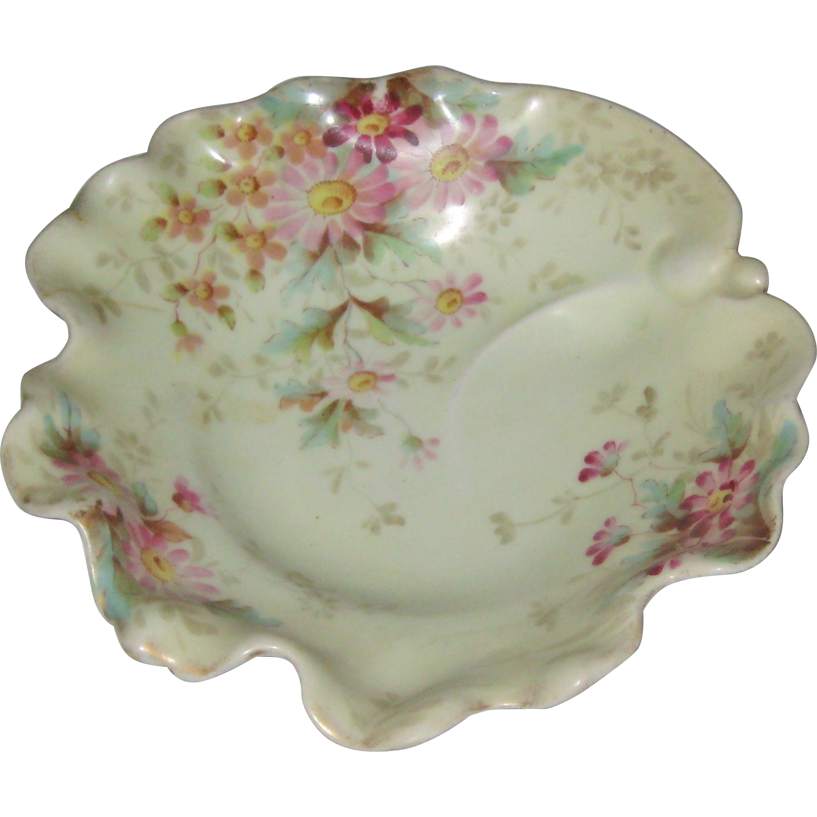 Porcelain Nappie or Serving Dish with Hand Painted Pink Daisies