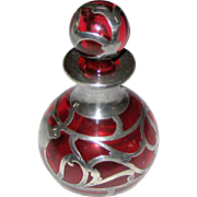 Art Nouveau Sterling Silver Overlay Cranberry or Ruby Glass Perfume Bottle with Stopper
