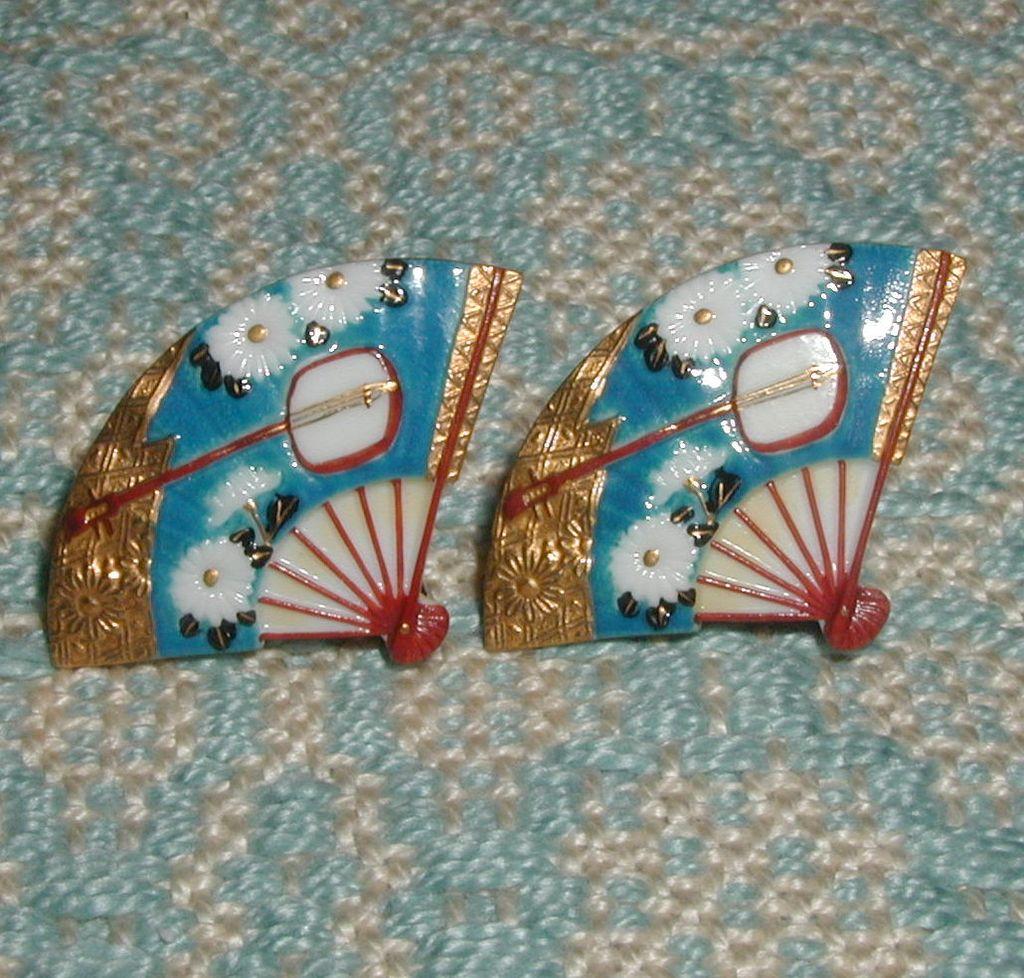 Toshikane Chrysanthemum and Shamisen Fan Earrings