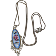 Blue Floral Enamel Hand Painted Russian Rostov Finift Pendant with Sterling Silver Chain