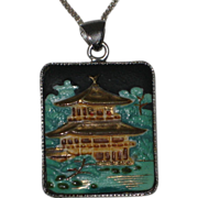Toshikane Japan Porcelain Ceramic Pendant Necklace with Sterling Setting and Chain