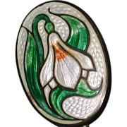 Edwardian Guilloche Enamel Stick Pin with Snowdrop Flower