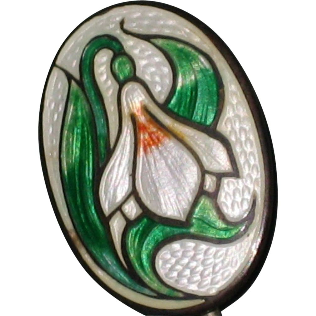 Edwardian Guilloche Enamel Stick Pin with Snowdrop Flower