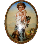 Victorian Porcelain Portrait or Picture Brooch – Beggar Boy Eating Bread