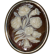 Floral Sardonyx Shell Cameo Brooch or Pendant, 800 Silver - Roses and Lilies, Circa 1910