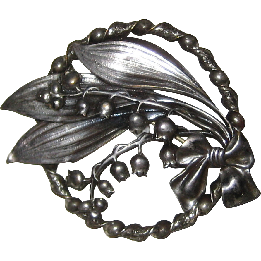 Silver-tone Lily of the Valley Sash Pin, circa 1910