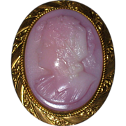 Left Facing Pink Molded Glass Bacchante Cameo Brooch with Gold-filled Setting - Circa 1900