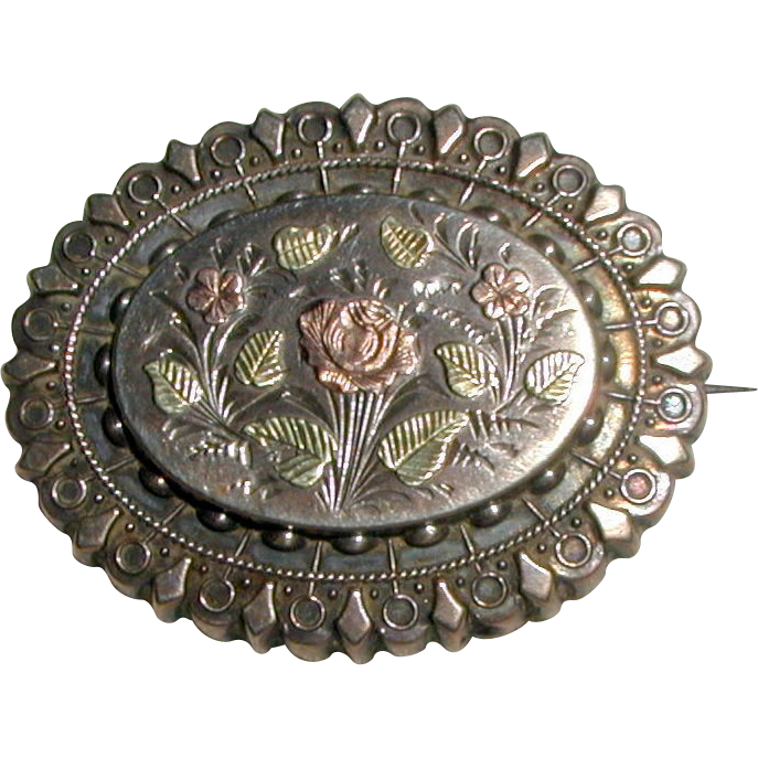 Victorian Mourning or Keepsake Brooch with Rose and Flowers, Circa 1880