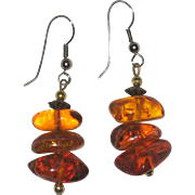Natural Polished Baltic Amber Nugget Earrings