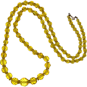 Art Deco Lemon Yellow Faceted Glass Graduated Necklace with Sterling Vermeil Clasp 30""