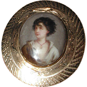 Hand Painted Victorian Portrait Brooch - The Neapolitan Fisher Boy
