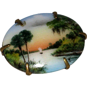 Petite Hand Painted Porcelain Olive Commons Signed Cameona Florida Landscape Pin