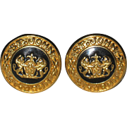St. John Signed Black and Gold-tone Clip Earrings with Classic Coat of Arms Design
