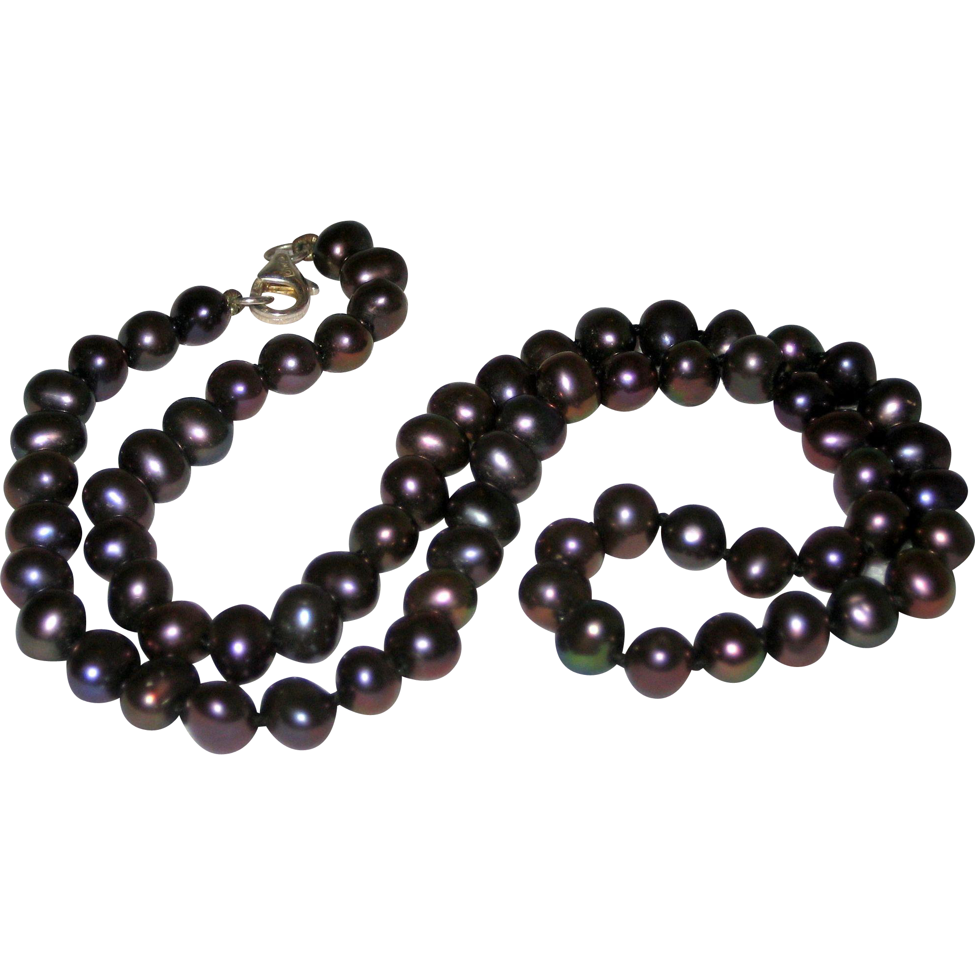 "18"" Iridescent Black Cultured Pearl Necklace with Sterling Silver Clasp"