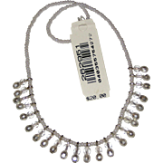 "Vintage Robert Rose Elastic Stretch Necklace with Glass Crystals and Glass ""Pearl"" Beads"
