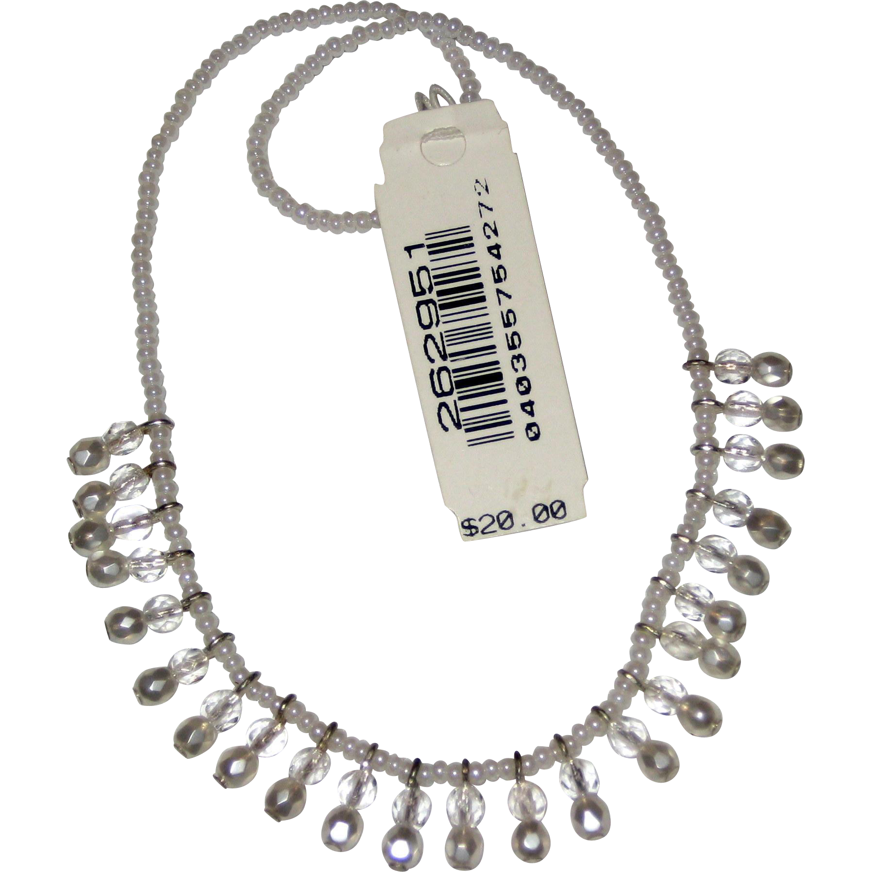 """Vintage Robert Rose Elastic Stretch Necklace with Glass Crystals and Glass """"Pearl"""" Beads"""