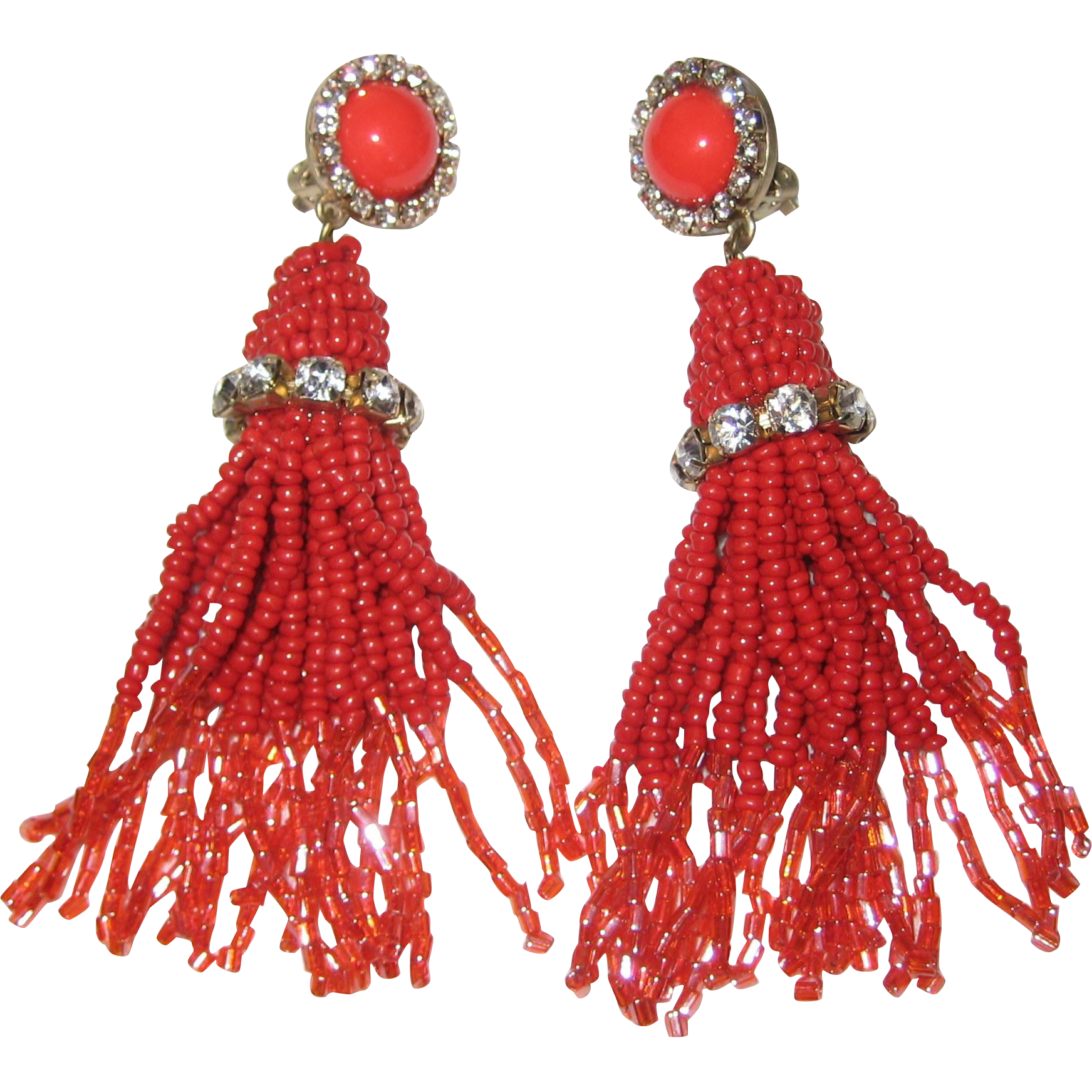 1950's Coral-Red Beaded Tassel Clip Earrings with Rhinestones