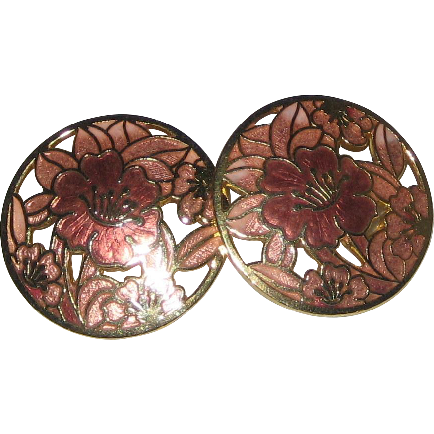 Pink Hibiscus Gold-tone Cloisonne Enameled Pierced Earrings
