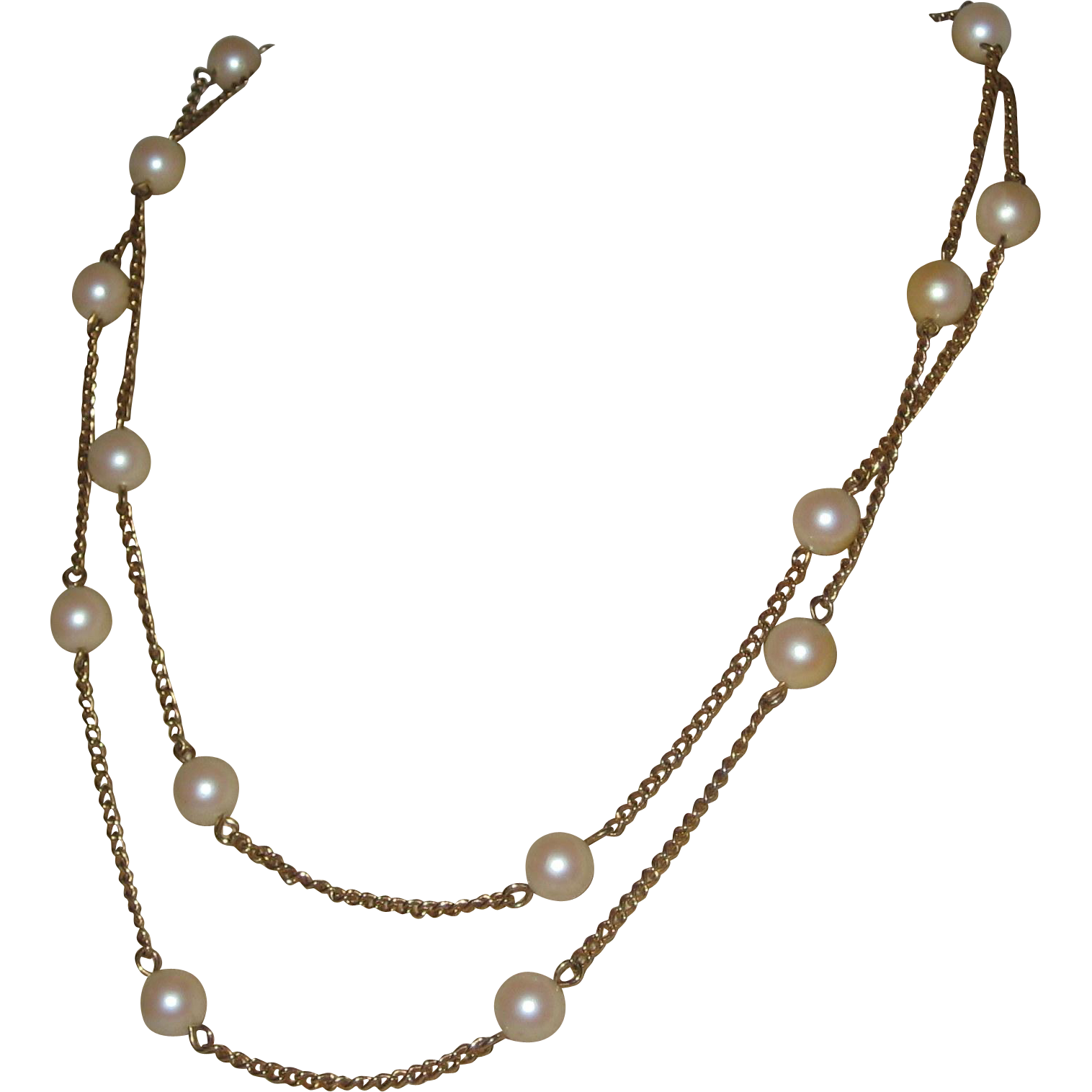 "Sarah Coventry 1960's Gold-tone Chain Necklace with Costume Pearls - 36"" Signed"