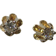 1930's 14K Yellow Gold Buttercup Diamond Stud Earrings - .03 carat each