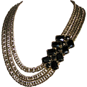 Assymetrical Chunky Chain Necklace with Huge Rhinestones