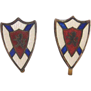 Petite Cloisonne on Sterling Scottish Scotland Shield Screw-back Earrings