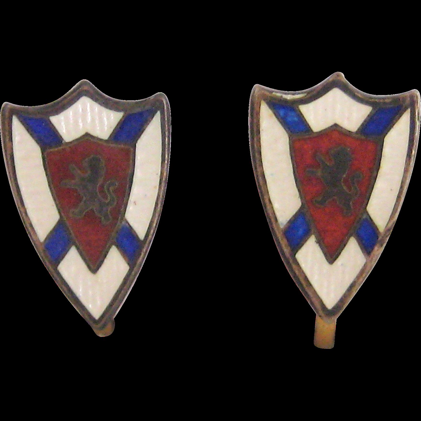 Petite Cloisonne on Sterling Scottish Scotland Shield Screw-back Earrings