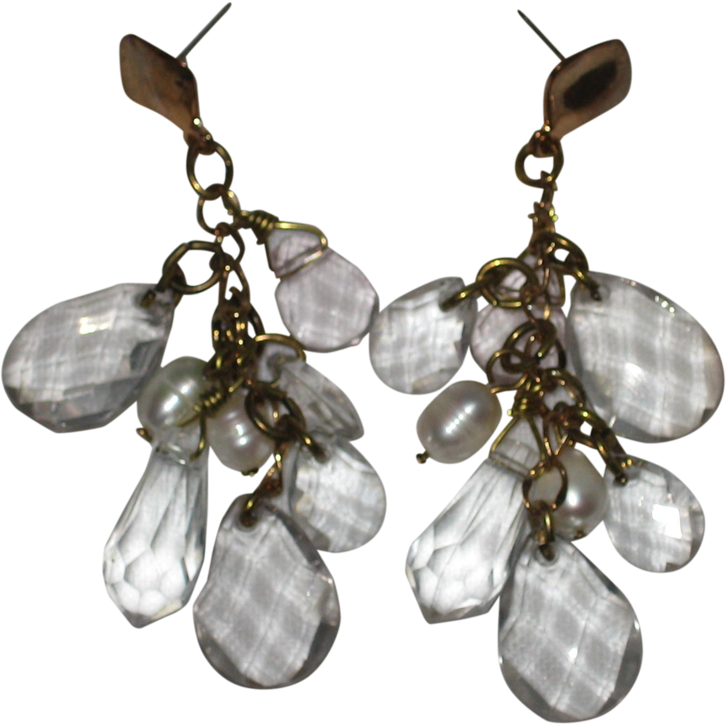 Chandelier Earrings with Faceted Acrylic Crystals and Freshwater Pearls