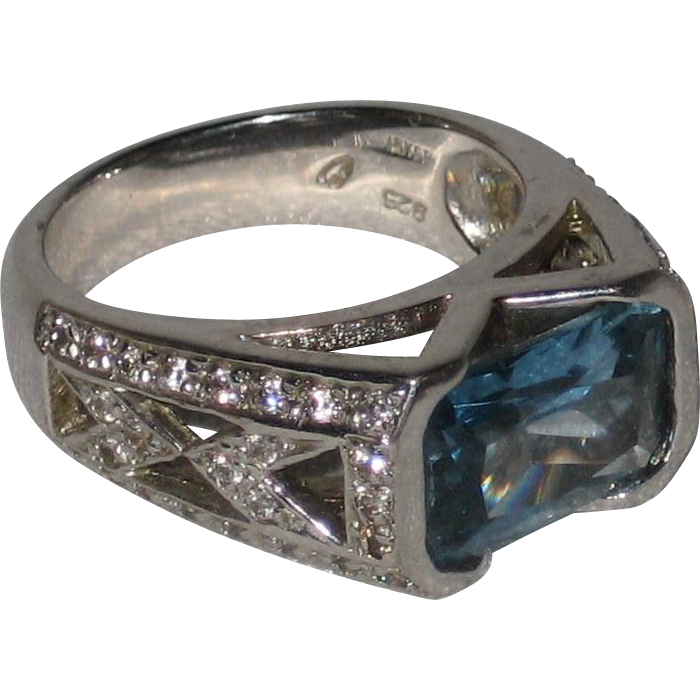 Simulated Blue Topaz Ring - Size 9 - 18K Gold Plated Sterling Silver