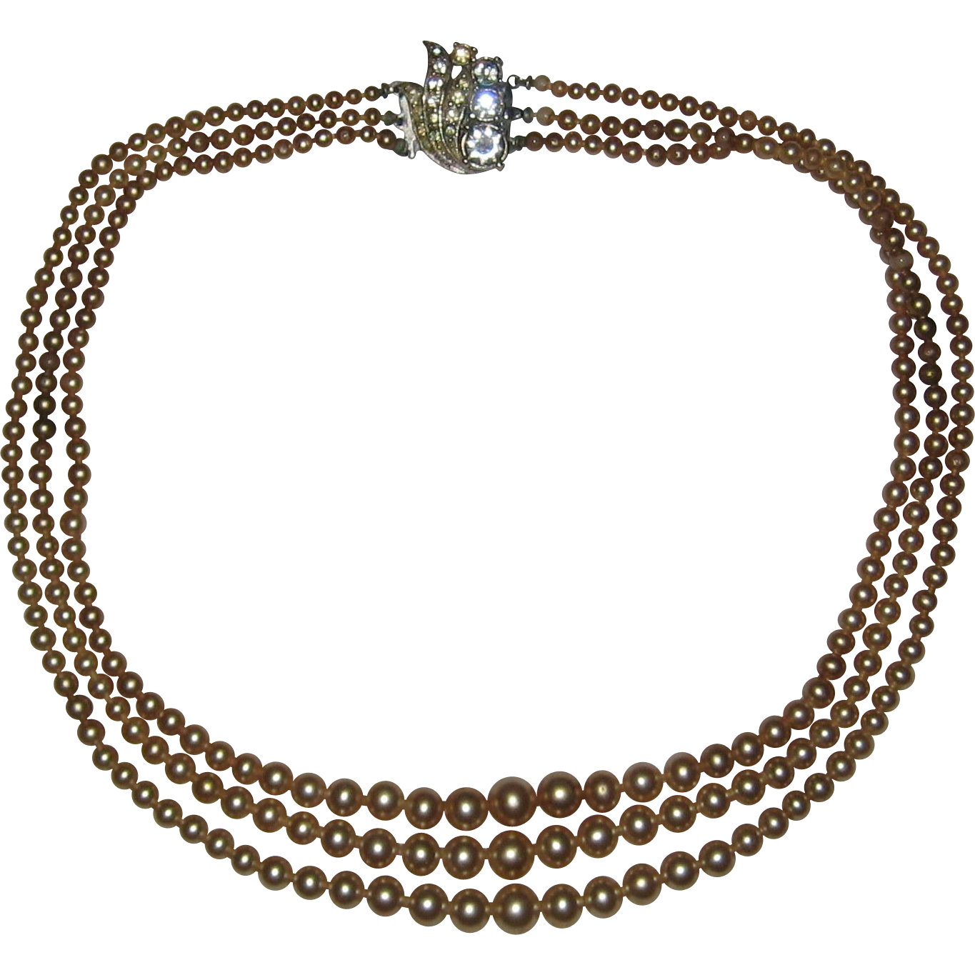 Tan or Golden Colored Three Strand Costume Pearl Necklace with Diamante Clasp - Circa 1940