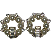 Rhinestone and Imitation Pearl Clip Earrings