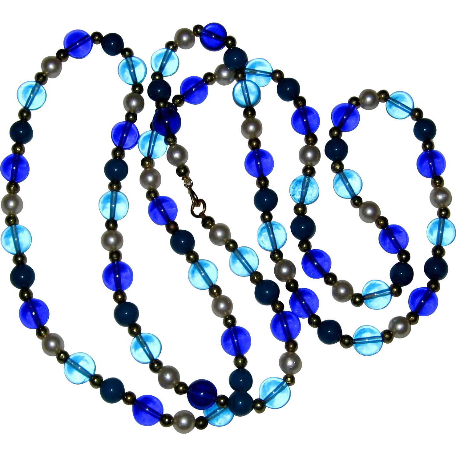 "Very Long 52"" Bead Necklace in Blue, Aqua, Teal and Imitation Pearl"