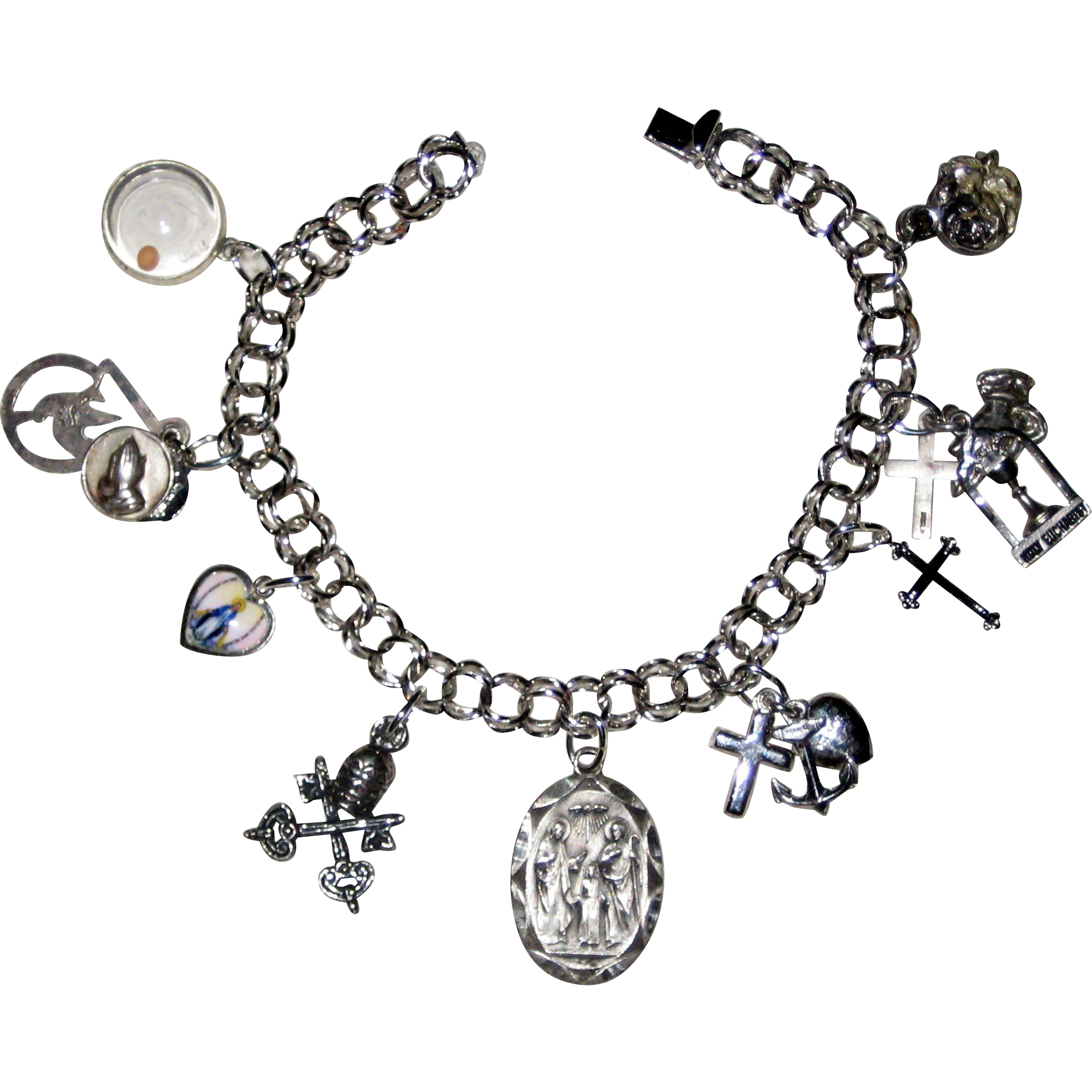 Christian Charm Bracelets: All Sterling Religious Catholic Charm Bracelet With