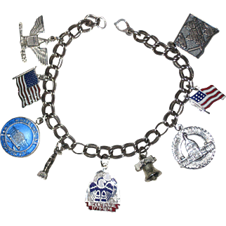 """Patriotic Sterling Silver Charm Bracelet with Nine America Themed Charms - Some Enameled 7 1/2"""""""