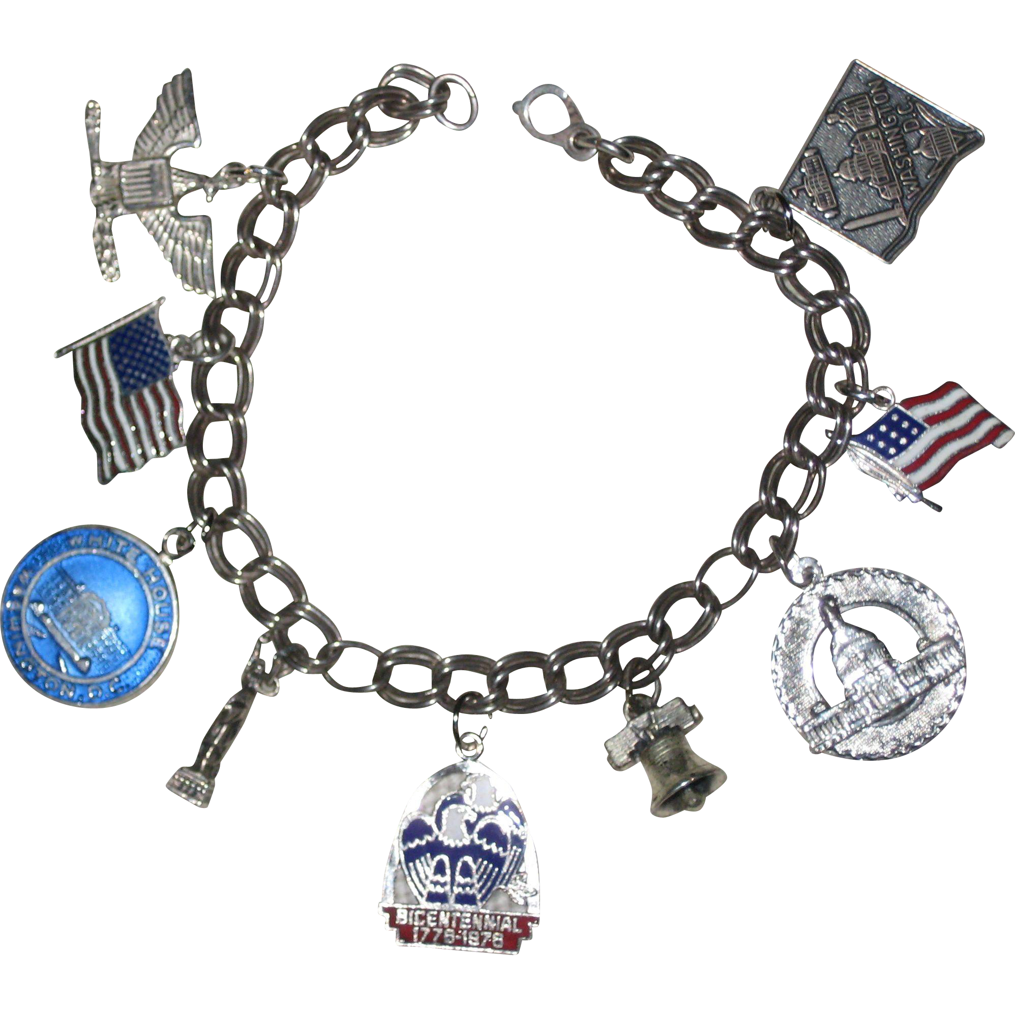 Patriotic Sterling Silver Charm Bracelet with Nine America Themed Charms - Some Enameled 7 1/2""