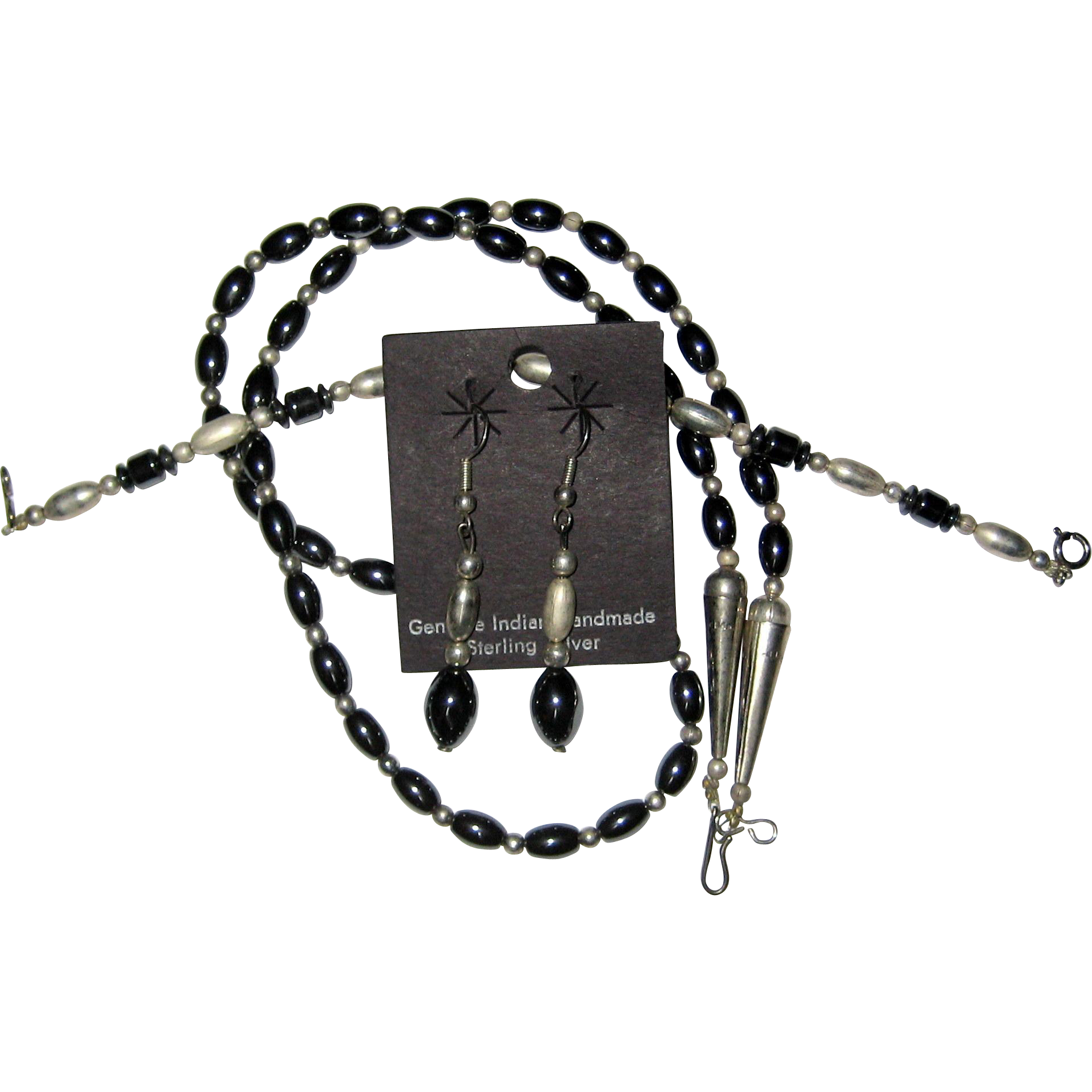 Native American Hematite and Sterling Silver Set - Necklace, Bracelet and Earrings - 1977