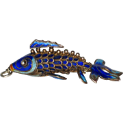 "Chinese Blue Enamel on 800 Silver Articulated Fish - 1 7/8"", Circa 1930"