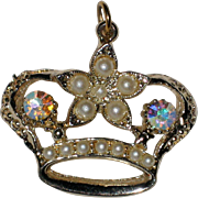 Vintage Jeweled Crown Pendant