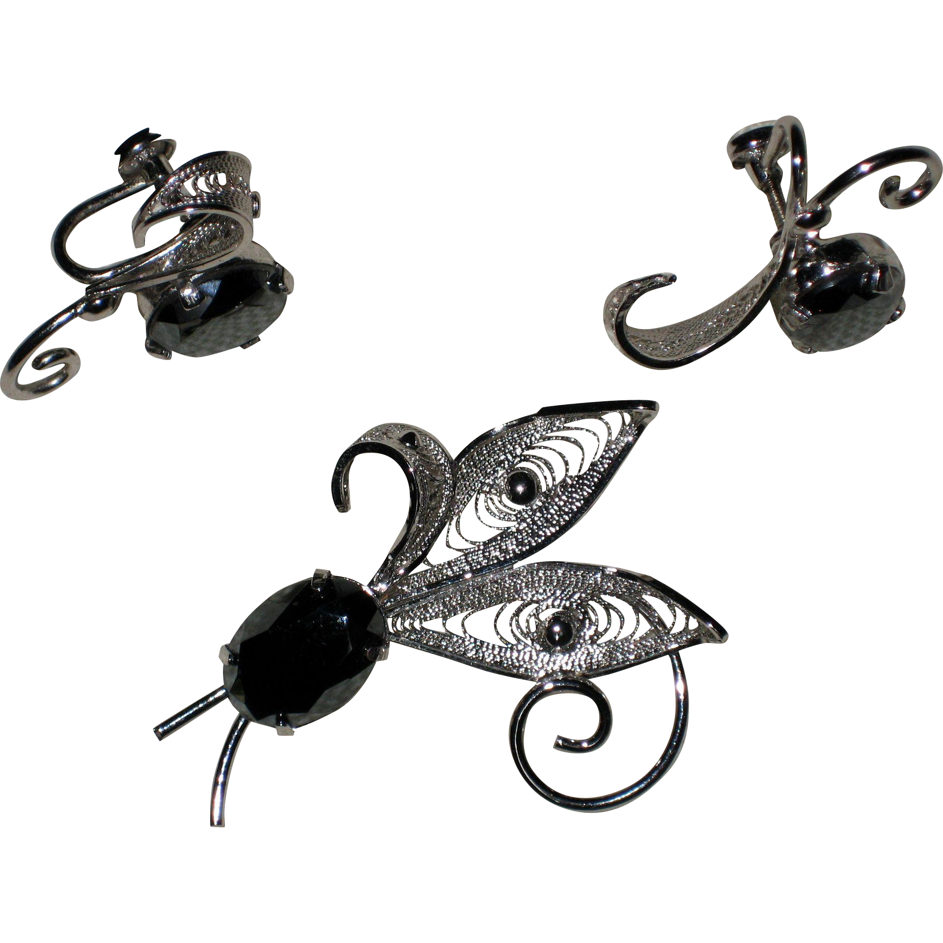Sterling Silver Filigree Pin and Earrings with Hematite Cabachons