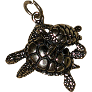 Mother and Baby Turtle Sterling Silver Pendant or Charm