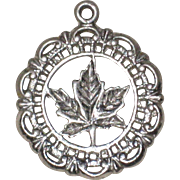 Rhodium Plated Sterling Silver Maple Leaf Charm with Filigree Edge