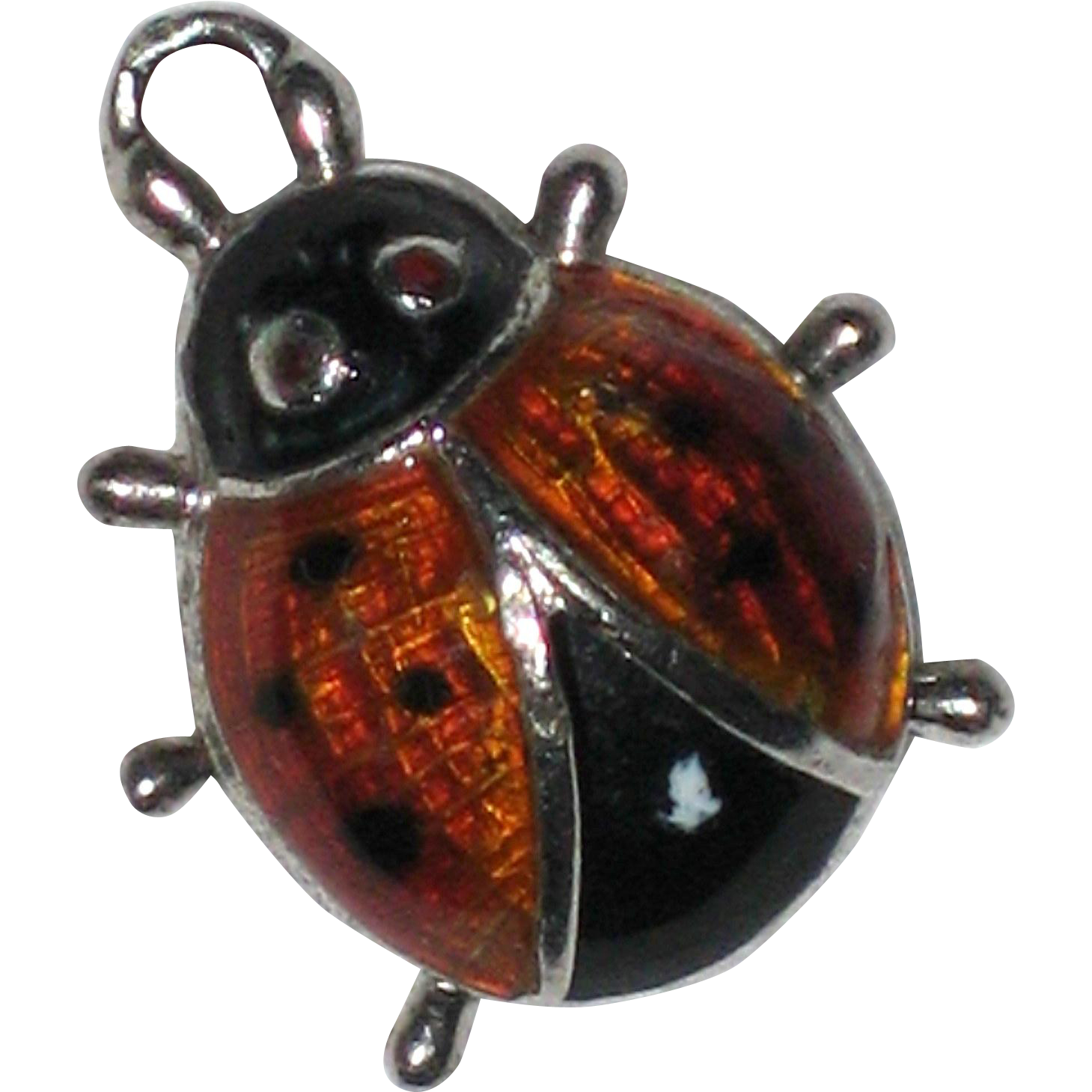 Beau Sterling Enameled Ladybug Charm or Pendant