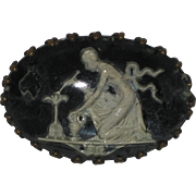 1930's Reverse Carved Lucite Pin with Goddess Vesta or Hestia