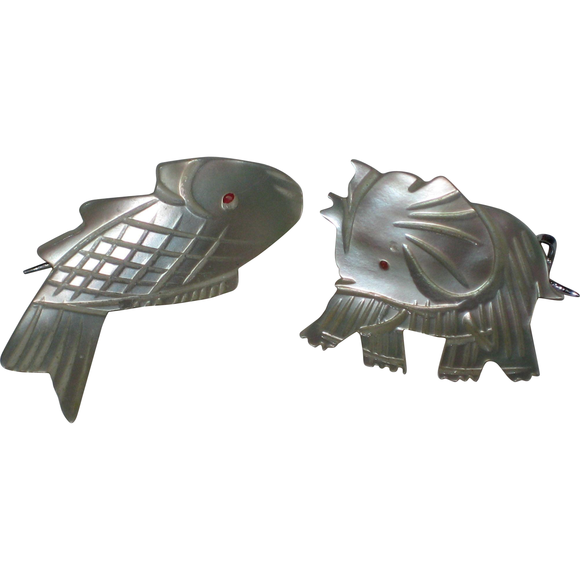 Two Mother of Pearl Animal Scatter Pins - Fish and Elephant