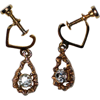 "1950's Gold Tone and Clear Rhinestone Drop Earrings - ""Pierced Look"""