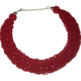 Deep Red Braided or Plaited Bead Collar Necklace