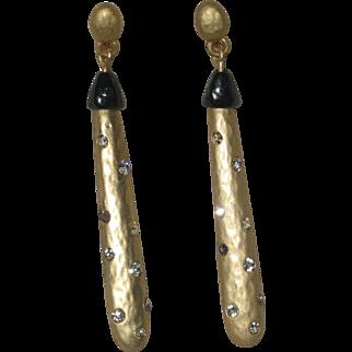 Gold-tone Elongated Teardrop Earrings with Rhinestones
