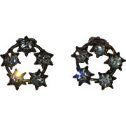 1930's Prong-set Rhinestone Clip Earrings  Marked Austria