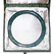 Natural Speckled Green Chinese Jade Bangle Bracelet in Original Gift Box