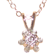 "Petite Dicini 0.2 Carat Diamond Pendant with 14K White Gold Setting and 16"" Chain - Original Box"